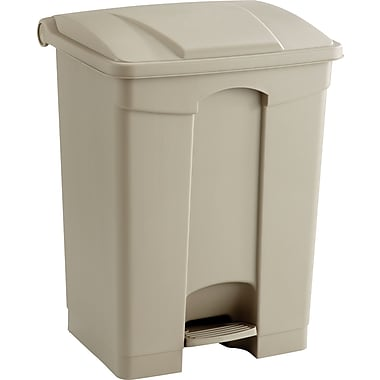 Safco 17 gal. Plastic Step Trash Can, Tan