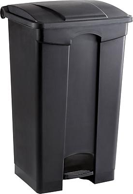Safco 23 gal. Plastic Step Trash Can, Black