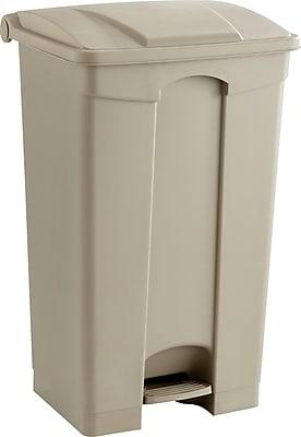 Safco 23 gal. Plastic Step Trash Can, Tan