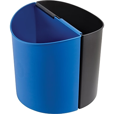 Safco® Desk-Side 3 gal. Plastic Recycling Receptacle, Black/Blue