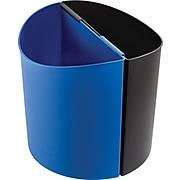 Safco Desk-Side Plastic Trash Can with no Lid, Black/Blue, 14 gal. (9928BB)
