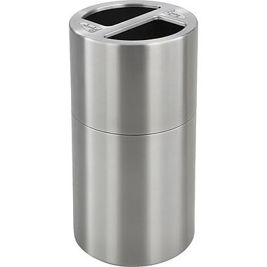SafcoMD – Réceptacle de recyclage double en aluminium, 30 gal, argenté