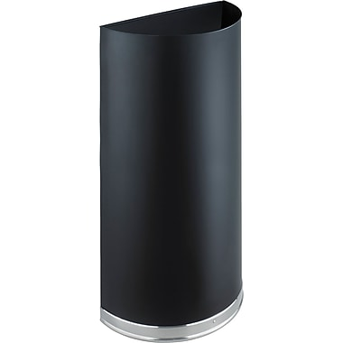 Safco 12.5 gal. Half Round Stainless Steel Trash Can with Lid, Black