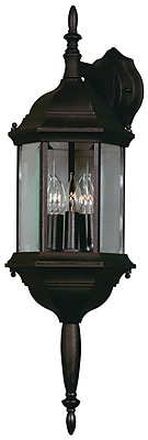 Kenroy Home Custom Fit 3 Light Wall Lantern, Black Finish