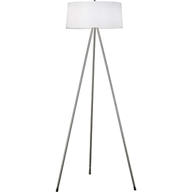 Kenroy Home Stilts Floor Lamp, Brushed Steel Finish with Chrome Accents