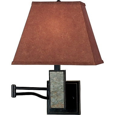 Kenroy Home Dakota Wall Swing Arm Lamp, Oil Rubbed Bronze Finish With Natural Slate Accents