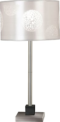 Kenroy Home Cordova Table Lamp, Brushed Steel Finish with Graphite Accent