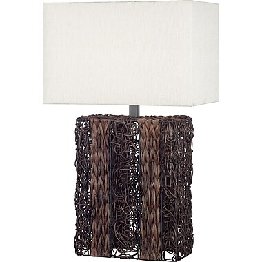 Kenroy Home Whistler Table Lamp, Dark Wicker Finish