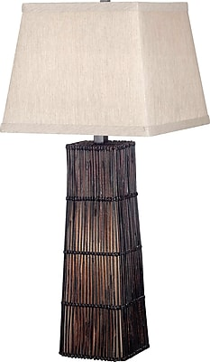 Kenroy Home Wakefield Table Lamp, Dark Rattan Finish