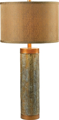 Kenroy Home Mattias Table Lamp, Natural Slate with Copper Finish Accents