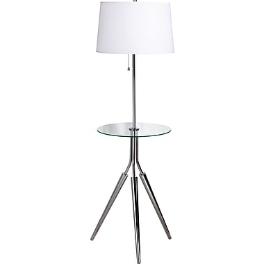 Kenroy Home Rosie Floor Lamp with Tray, Chrome Finish