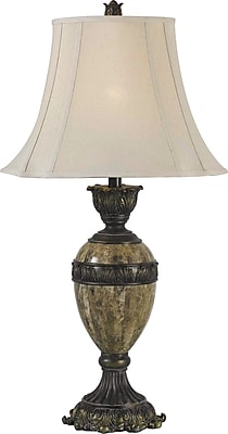 Kenroy Home Baroness Table Lamp, Bronze with Marble Finish Accents