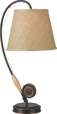 Kenroy Home Fly Rod Table Lamp, Oil Rubbed Bronze Finish with Wood Finish Accent