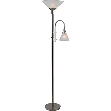 Kenroy Home Torchiere with Reading Arm, Brushed Steel Finish