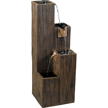 Kenroy Home Timber Indoor/Outdoor Floor Fountain, Wood Grain Finish