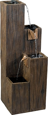 Kenroy Home Timber Indoor/Outdoor Floor Fountain, Wood Grain Finish