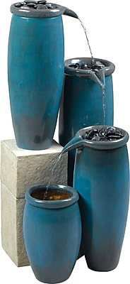 Kenroy Home Agua Indoor/Outdoor Floor Fountain, Blue Glaze Finish
