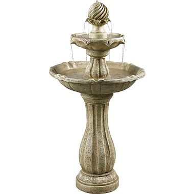 Kenroy Home Arcade Outdoor Solar Floor Fountain, Sandstone Finish