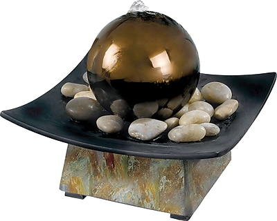 Kenroy Home Sphere Indoor Table Fountain, Natural Green Slate Finish