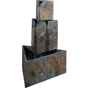 Kenroy Home Stacked Triangles Fountain, Natural Slate Finish