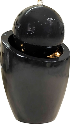 Kenroy Home Bola Indoor/Outdoor Floor Fountain, Gloss Black Finish 149458