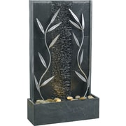 Kenroy Home Courtyard Floor Fountain, Natural Gray Slate Finish With Decorative Metal Accents