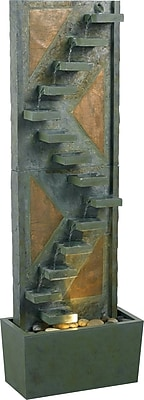 Kenroy Home Traverse Floor Fountain, Natural Green Slate Finish with Natural Copper Accents
