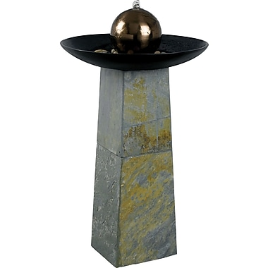 Kenroy Home Sleek Floor Fountain, Natural Green Slate with Copper Finished SS Ball