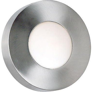 Kenroy Home Burst 1 Light Small Round Flush Wall Sconce, Polished Aluminum Finish