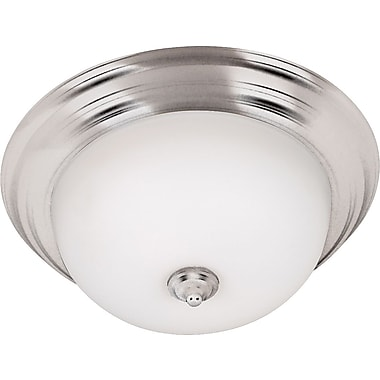 Kenroy Home Triomphe 2 Light Flush Mount with Self Ballasted Bulb, Brushed Steel Finish