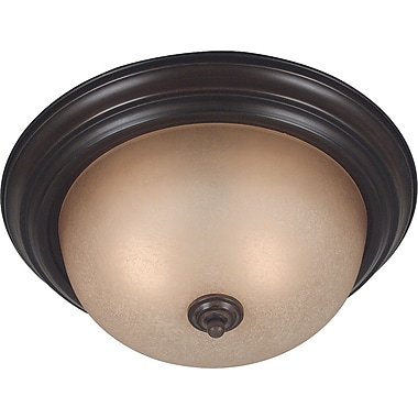 Kenroy Home Triomphe 2 Light Flush Mount with Self Ballasted Bulb, Cocoa Finish