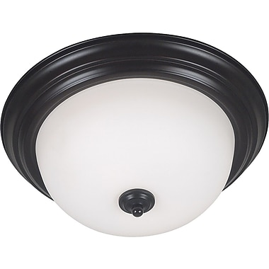 Kenroy Home Triomphe 2 Light Flush Mount with Self Ballasted Bulb, Oil Rubbed Bronze Finish