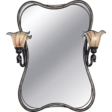 Kenroy Home Inverness 2 Light Vanity Mirror, Tuscan Silver Finish