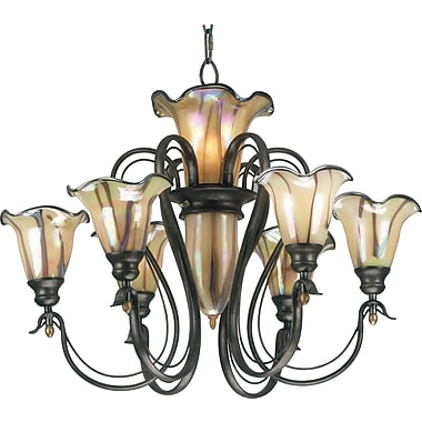 Kenroy Home Inverness 6 + 3 Light Chandelier, Tuscan Silver Finish