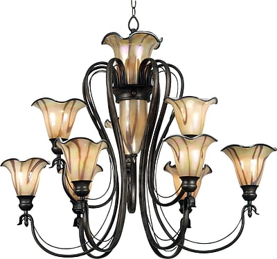 Kenroy Home Inverness 9 + 3 Light Chandelier, Tuscan Silver Finish
