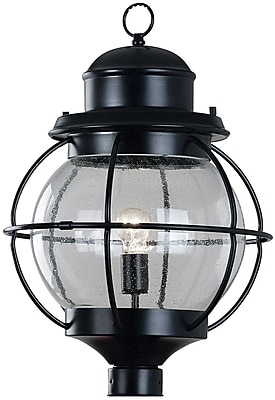 Kenroy Home Hatteras 1 Light Post Lantern, Black Finish