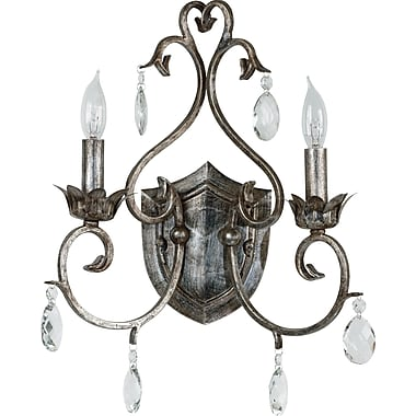 Kenroy Home Antoinette 2 Light Wall Sconce, Weathered Silver Finish