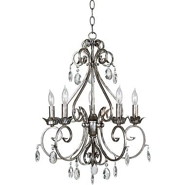 Kenroy Home Antoinette 5 Light Chandelier, Weathered Silver Finish