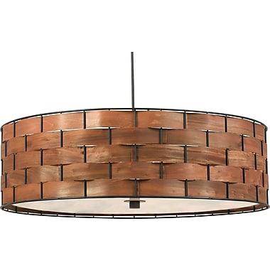 Kenroy Home Shaker 3 Light Pendant, Dark Woven Wood Finish