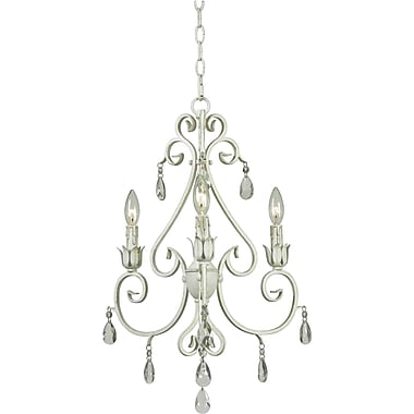 Kenroy Home Chamberlain 3 Light Chandelier, Weathered White Finish
