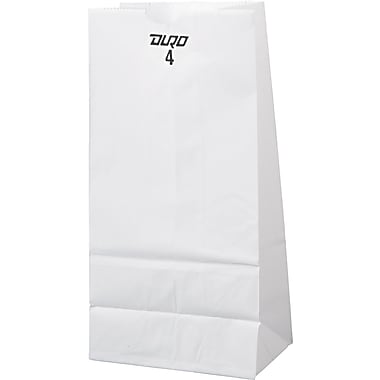 Duro Bag GW Series Kraft Paper Grocery Bag, White, 4 lbs.