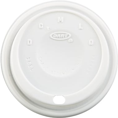 Dart ® Cappuccino Dome Sipper Lid, White, for 12 - 24 oz Foam Cups, 1,000/Pack