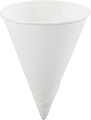 Konie Rolled-rim Paper Cone Cup, White, 4 oz KCI40KR