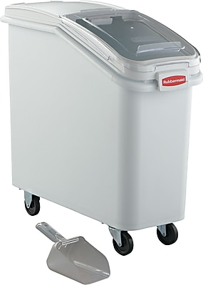 """""Rubbermaid Ingredient Mobile Bin with Sliding Hinged Lid, 29 1/4"""""""" L x 13 1/8"""""""" W x 28"""""""" H"""""" RCP360088WHI"