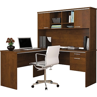 Bestar bureau flare en l avec tag re brun toscane for Ordinateur de bureau pour retouche photo