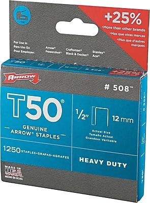 Arrow® T50® Type Staples, 1/2