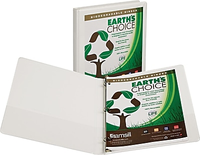 Samsill® Earth's Choice.5-inch Round 3-Ring Binder, White (18917)