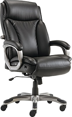 Alera ALEVN4119 Veon Leather High-Back Executive Chair with Fixed Arms, Black