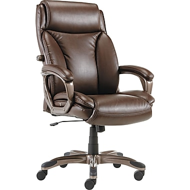 Alera ALEVN4159 Veon Leather High-Back Executive Chair with Fixed Arms, Brown