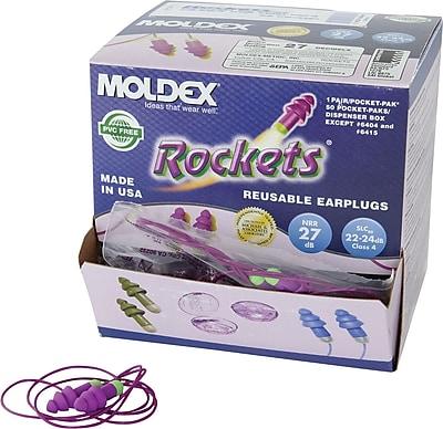 Moldex® Rockets® Reusable Corded Earplug, Purple, NRR 27 dB